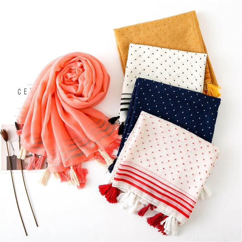 Ladies Fashion Autumn Polka Dot Tassel Viscose Scarf High Quality Shawls And Wraps Pashmina Stole Foulards Muslim Hijab 180*90Cm