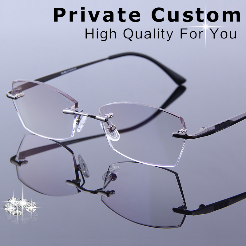 8932d4761410 Luxury Reading Glasses Men Rimless Eyeglasses Myopia Prescription High  Clear Lenses Gold Male Eyewear Fashion Spectacles hombres