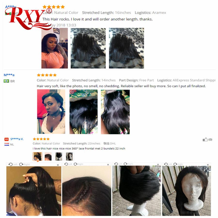 RXY Pre Plucked 360 Lace დახურვა - ადამიანის თმის (შავი) - ფოტო 2