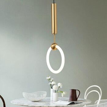 Moderne salle à manger pendentif lumière or anneau chambre suspension lampe maison intérieur luminaires aluminium fer placage processus