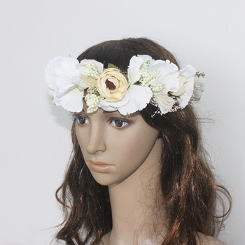 Women's Floral Wreath Headpiece Crown Artificial Flower Garland For Wedding Bridal Deco And Hair Accessories Boho