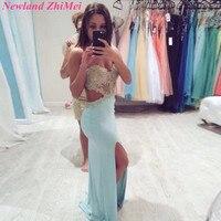 Sexy Long Side Slit Prom Dresses Amazing Backless Beaded Applique Chiffon Evening Party Dress vestido para formatura