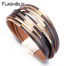 Flashbuy 3 Color Multilayer Casing Bracelet For Women Fashion Jewelry Leather Alloy Charm Round Wrap Bracelets Gift Accessories