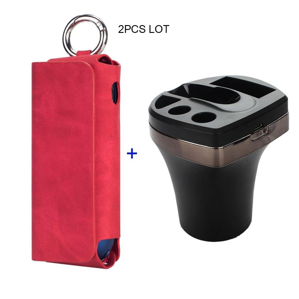 JINXINGCHENG charge avec étui en cuir et chargeur de voiture pour Iqos 3.0 housse de protection sac accessoires