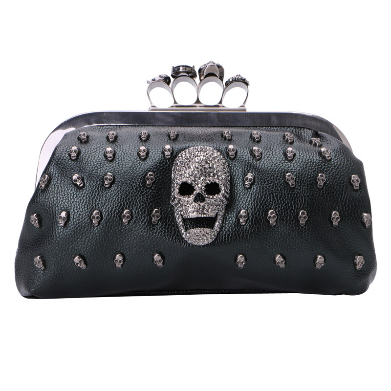 THINKTHENDO Women Girl Lady Skull Rivet Shoulder Bag Handbag Crossbody Satchel Tote Purse women designer leather smiley trapeze handbag luxury lady smiling face purse shoulder bag girl crossbody bag sac femme neverfull