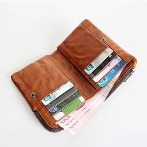 Image 4 - Короткий кошелек AETOO в стиле ретро, кожаный мужской бумажник с верхним слоем, Молодежный винтажный вертикальный клатч на молнии