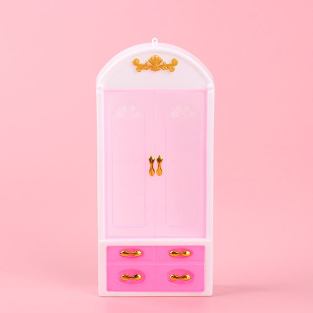 1PC Mini Doll Closet Pink Toys Wardrobe Princess Doll House Furniture Doll  Closet Doll Home Decorate