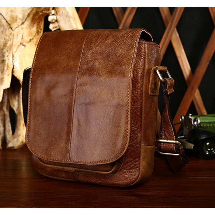 Men Bag Shoulder Retro Genuine Leather Business Travel Men Messenger Bag Vintage Flap Bag Casual Male Crossbody Bag black/brown цена