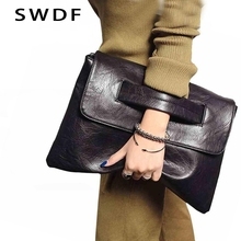 SWDF New Fashion Women Envelope Clutch Bag Leather Women Cro