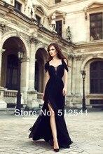 Romantic Black Female Evening Dresses Formal Chiffon Sweetheart Sheath Pleats Side Splite Ruched yk8R941