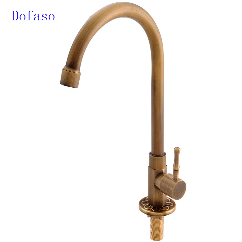Dofaso antique brass kitchen faucet retro bathroom faucet cold water tap torneria deck faucets in kitchen faucets from home improvement on aliexpress com