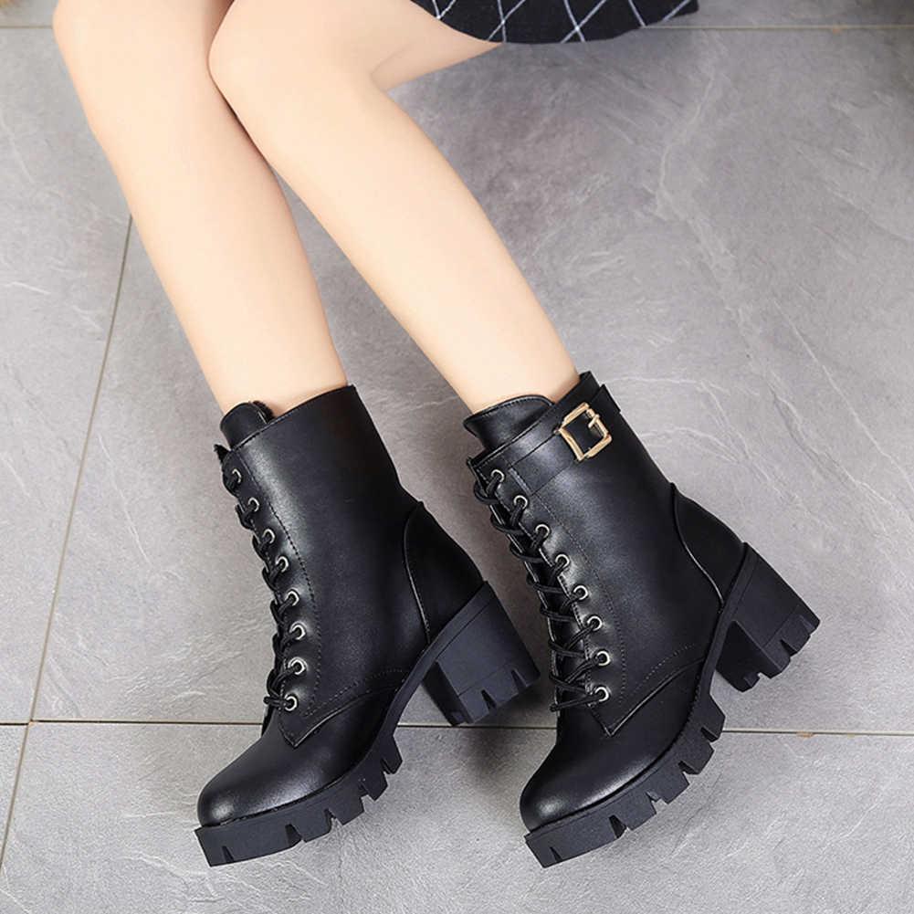 KARINLUNA 2019 Yeni Varış Botları Kadın Geniş Yüksek Topuklu 7 cm Kemer Tokası platform ayakkabılar Kadın Rahat Sonbahar Kış Orta Buzağı çizmeler