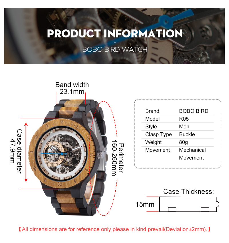 HTB17whna.T1gK0jSZFhq6yAtVXaY Relogio Masculino BOBO BIRD Mechanical Watch Men Wood Wristwatch Automatic Customized Gift for Dad