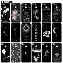 Black White Flower Moon Stars Space Astronaut Soft Silicone Case for