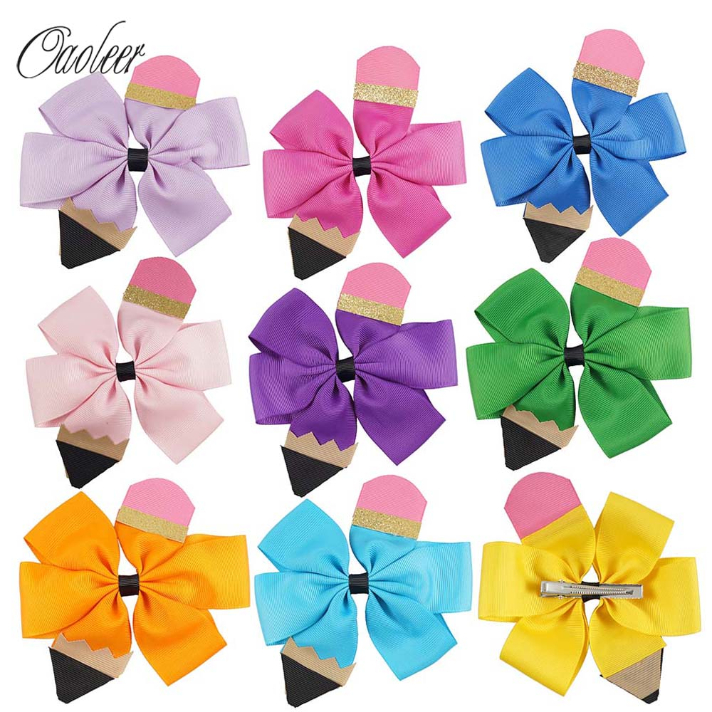 "9pcs/lot 5.5"" Pencil Hair Bow With Alligator Clip Kids Back School Hairpin Hair Clip Girls Hair Accessories"