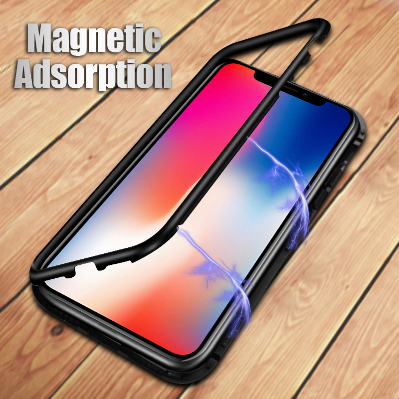 Magneto Magnetic Adsorption case for iphone 7 luxury aluminum frame bumper with tempered glass cover for iphone x 6 6s 7 8 plus