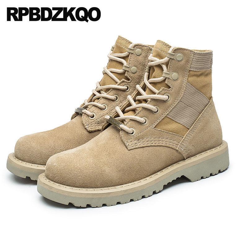 a0813279ce36 Military Canvas Shoes Men Suede Tactical Ankle Plus Size Combat Full Grain Leather  Desert Booties Flat