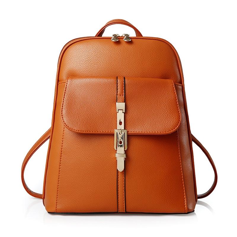 backpacks women backpack school bags students backpack ladies womens travel bags leather package Orange