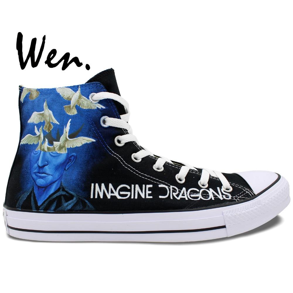 Wen Best Popular Hand Painted Shoes Custom Design Music Rock Men Women's White High Top Casual Canvas Shoes Imagine Dragons
