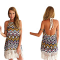 Summer Dress Women Printing Clothing 2015 Hot Sale European and American Style Sexy Dress Halter Backless Tassel Vestido C146