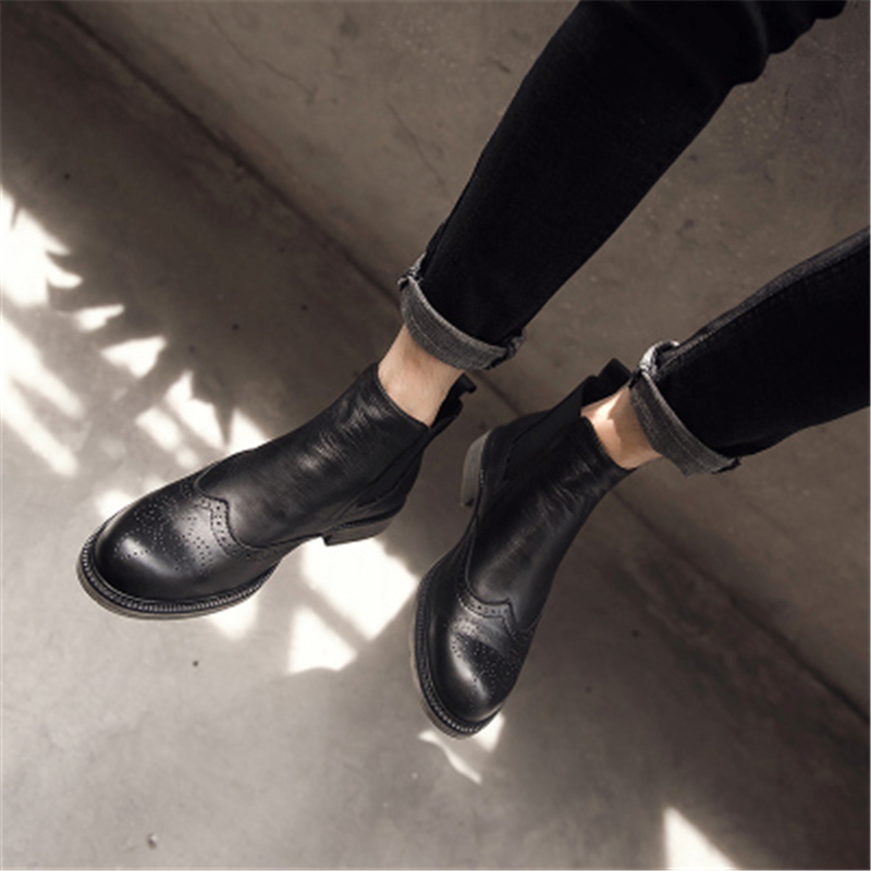 Spring New Men Genuine Leather Shoes Trainers Winter Male Adult Ankle Chelsea Boots Casual Slip-On Flats Spring Black Sneaker цена 2017