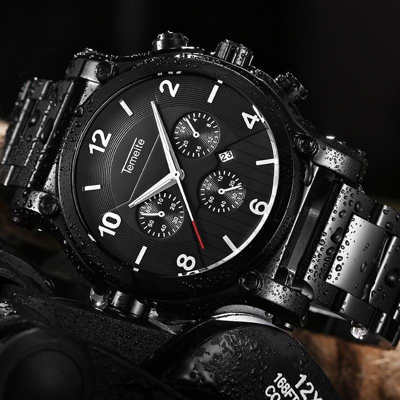 TEMEITE Military Oversize Watch for Men 3 Small Sub-dials Decoration Dial Black Cool Calendar Clock Top Brand Luxury Wristwatch стоимость