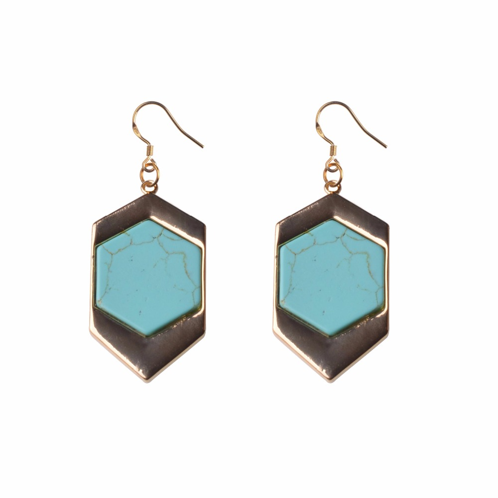 Bohemia Style Peacock Natural Green Stone Classic Pretty Gold Earrings For  Women High Quality Fashion Jewelry