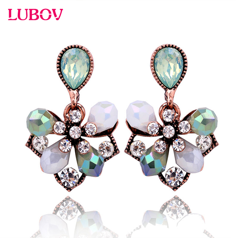 1 Pair Cantik Elegan Bunga Kelopak Pejantan Anting Fashion Wanita Berlian Imitasi Anting Perhiasan Hadiah untuk Pacar