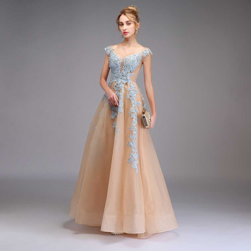103d216f2a SSYFashion New Evening Dress The Banquet Elegant Champagne with Light Blue  Lace Appliques V-neck Long Party Formal Gown