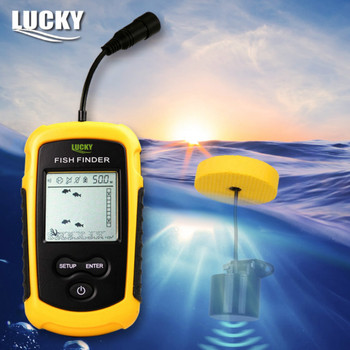 Lucky echosonda przenośny echosonda Sonar Alarm lokalizator ryb czujnik głębokości Finder 0.7-100M przetwornik rosyjski Menu FF1108-1 # B3