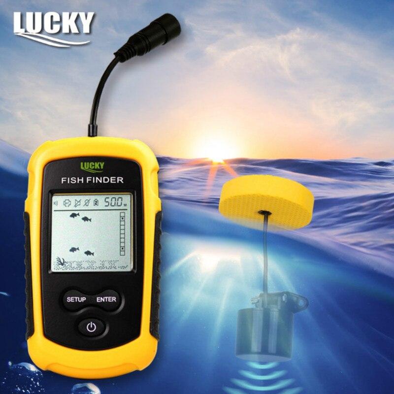 Suerte de Echo Sounder portátil Fishfinder Sonar alarma buscador de peces de buscador de profundidad 0,7-100 M transductor menú ruso FF1108-1 # B3