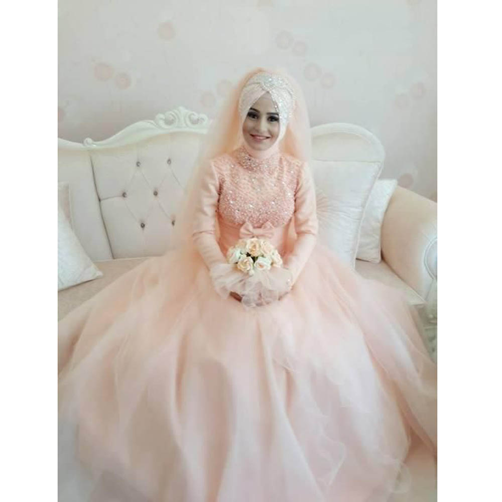 Arabic Muslim Blush Pink Wedding Dress 2016 Bead Lace Appliques Ball ...