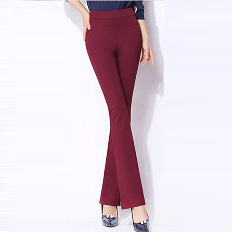 Plus Size Office Lady Full length   Pants     Capris   Autumn Winter High Waist Flare   Pants   Professional Business Women   Pants   FP0971