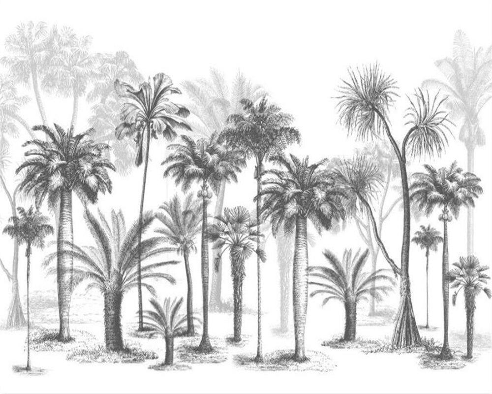 Купить с кэшбэком Custom Wallpaper Mural Black and White Sketch Tropical Rainforest Coconut Tree Nordic TV Sofa Background 3d Wallpaper Beibehang