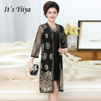 It's Yiiya Mother of the Bride Dresses Plus Size Embroidery 2 piece set Fashion Designer Lace Elegant Mother Dress M004