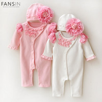 FANSIN Brand Newborn Cute Floral Cotton Baby Girl Romper Infant Toddler Lace Bow Knot Jumpsuit With