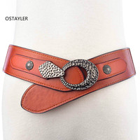 2018 Vintage Genuine Leather Waist Belt Women Buckle Hood PU Coat Dress Belts Cow Leather Elastic