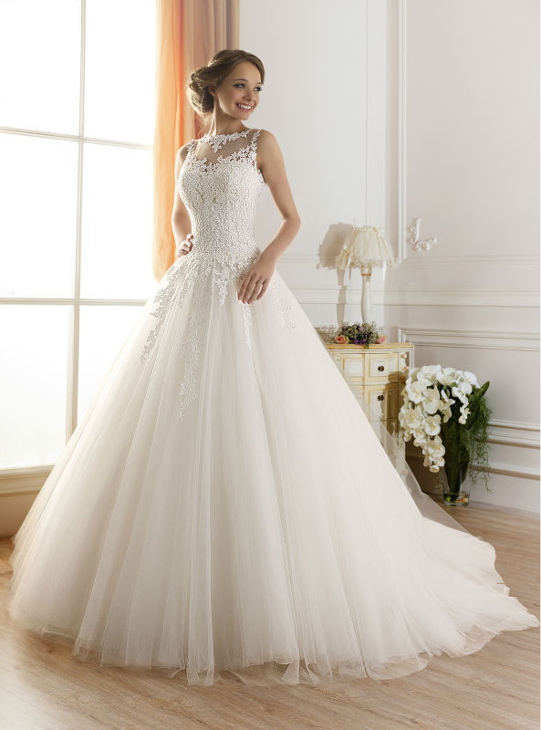 Vintage Style Bateau Neck Lace Covered Back Bridal Ball Gown Wedding