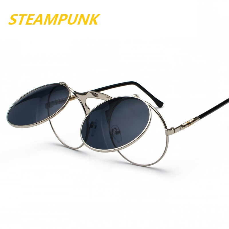 Steampunk Round Sunglasses Women Men Metal Vintage Flip Circular Double Lens Sun Glasses Style CIRCLE Shades Gafas Oculos De S