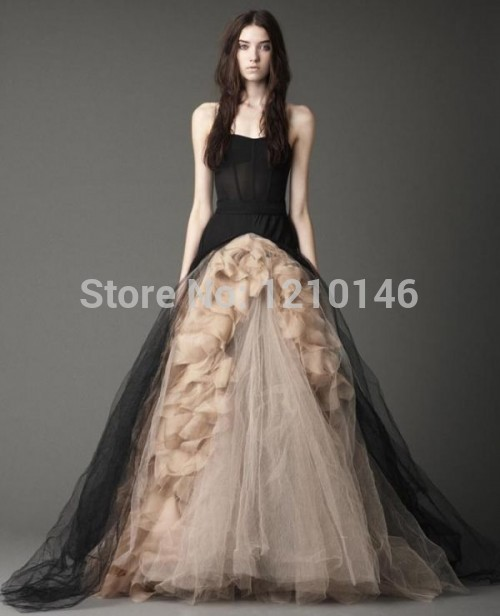 A Line Strapless Victorian Gothic Wedding Dress Ruffled Tulle Black Halloween Gowns 2015