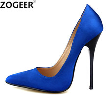 Plus Size 48 Pointed Toe Sexy High Heels Women Pumps 13CM Women Office Party Wedding Shoes Candy sapato feminino High Quality