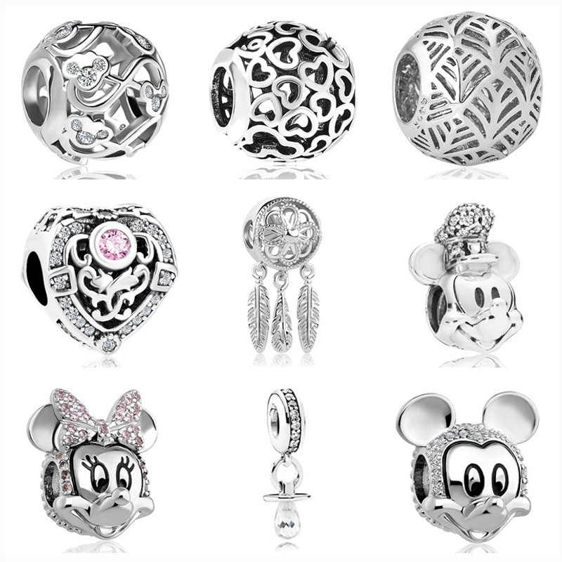 2019 nuevo 1pc Europea Dreamcatcher Mickey Minnie diy bead Fit Pandora Charms pulsera de plata 925 original para las mujeres F147