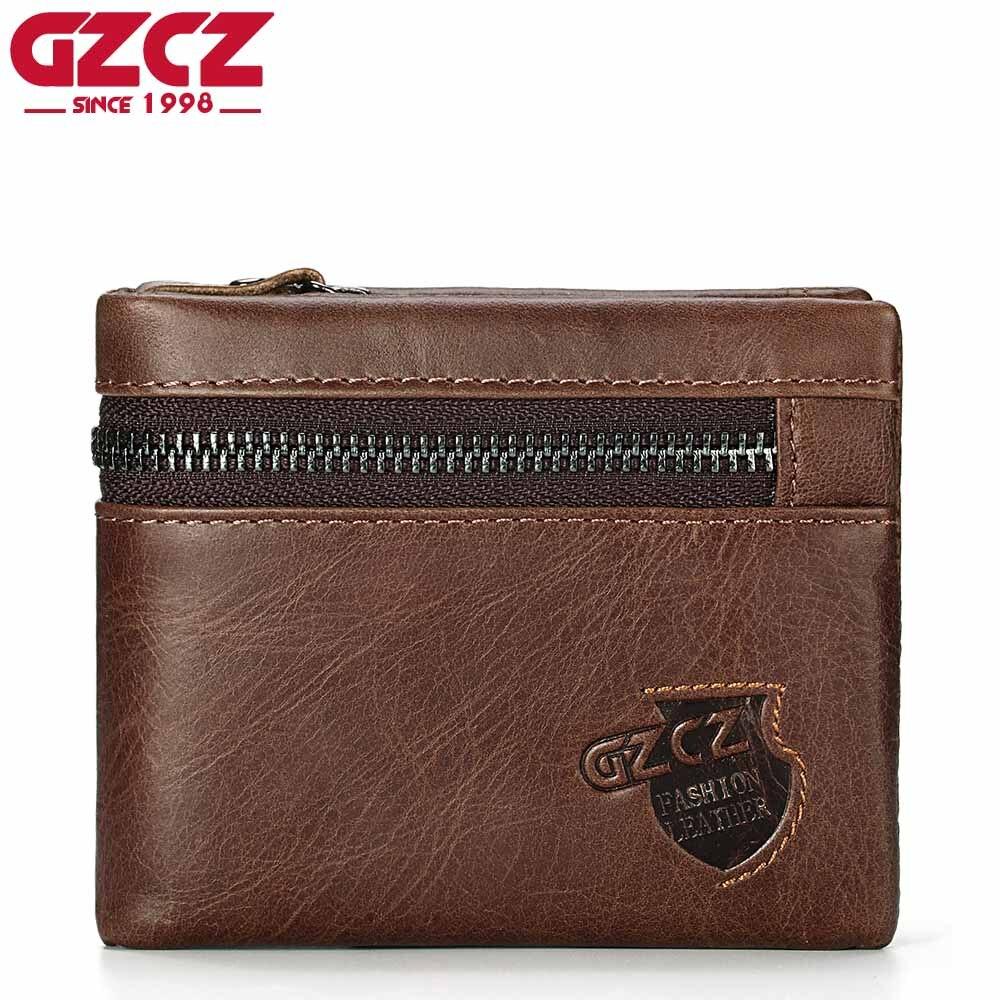 GZCZ High Quality <font><b>Genuine</b></font> Leather Men Wallet Luxury Brand Zipper Design Male Walet For Men Bifold Small Money <font><b>Clip</b></font> Coin Pocket