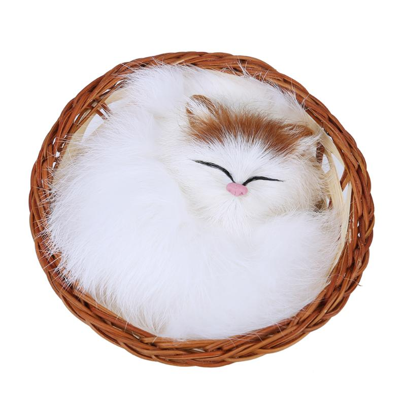 Lovely Stuffed Toy Simulation Animal Sleeping Cat in the Basket Toy with Sound Kids Toy Home Decor Birthday Gift for Children