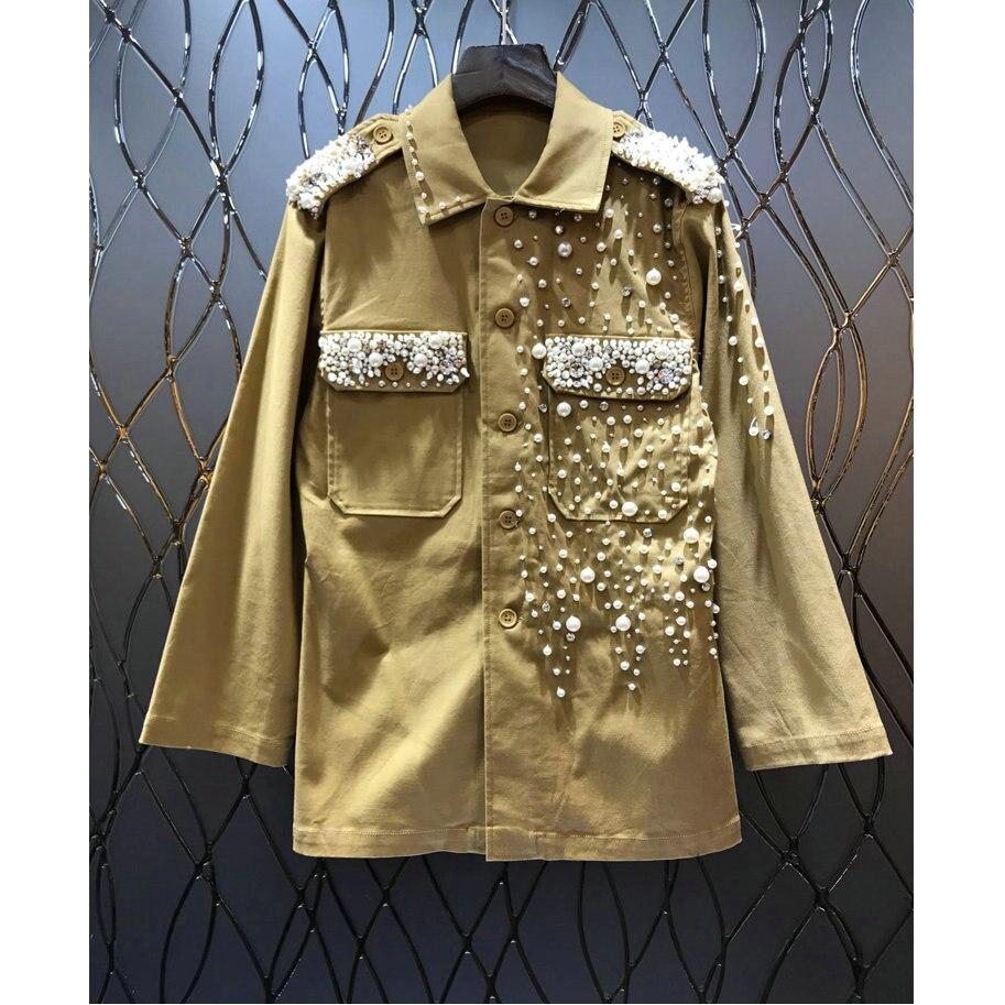 Perlée Poche Perle Arribal Lourde Épaulettes Forage Luxe De Lâche Manteau Symétrique Décoratif Nail Femmes Nouveau Tranchée xHSnwfqwp