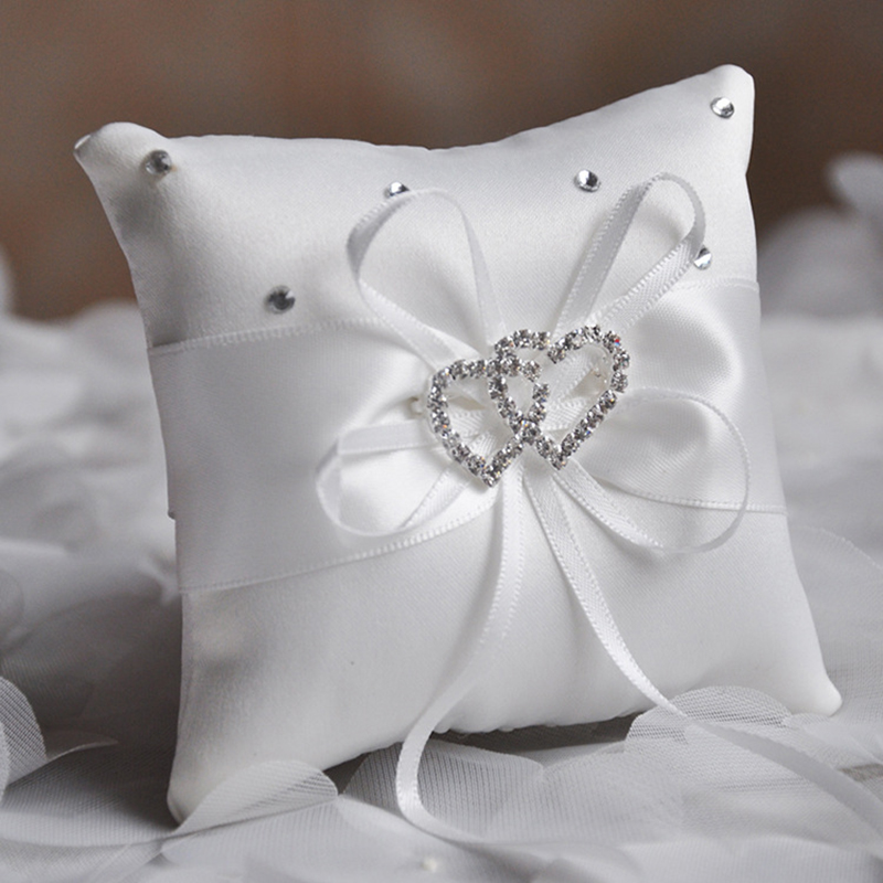 1pc 20x20cm wedding ring pillow ribbon bowknot rhinestones double heart satin cushion european wedding decoration party supplies in party diy decorations - Wedding Ring Pillow