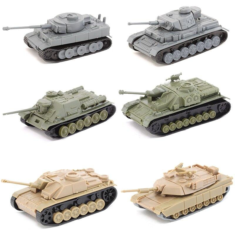 1PCS 4D Assembled Plastic Tiger Tank World War II Germany USA Soviet Union Tanks 1:100 Scale Blocks Model Toy