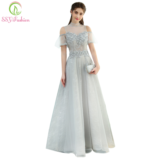 SSYFashion New The Banquet Elegant Grey Lace Evening Dress High-neck  Floor-length Beading Prom Formal Party Gown Custom c04fe842bcbf