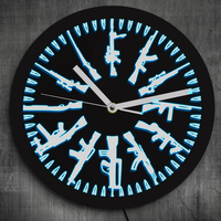 Gun and Bullets LED Neon Sign Wall Clock Vintage Different Guns Design Illuminated Wall Clock Color Change With Remote Control