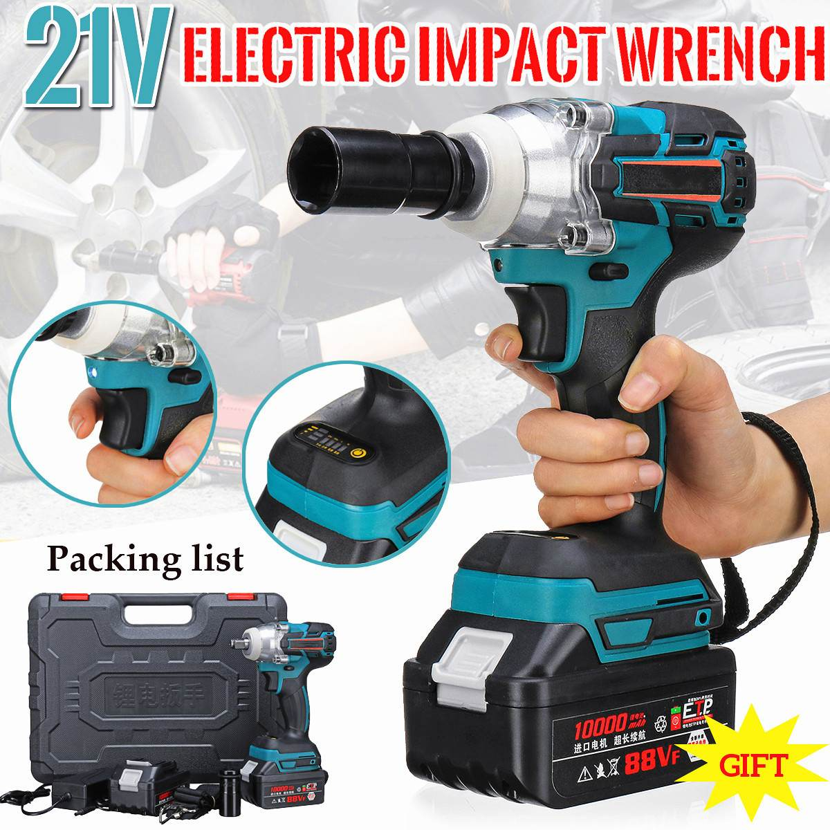 21V 10000mah Li-ion Electric Impact Wrench Guns 330Nm Max Torque Impact Wrench Cordless 2 Batteries 1 Charger Power Tool